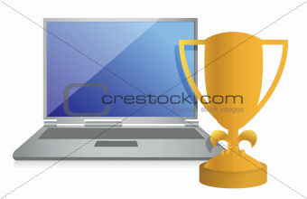 trophy and laptop illustration