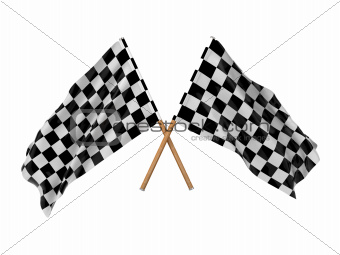 Checkered Flags. (Two Crossed Flags.)