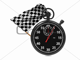 Stopwatch with checkered flag.