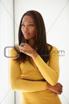 Stylish young African American woman standing alongside a window thoughtfully