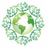 globe and leaves around