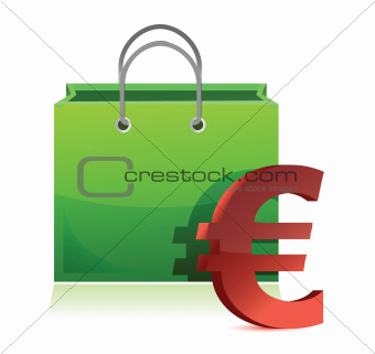 shopping bag and euro symbol