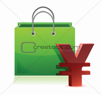 shopping bag and yen symbol