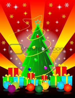 christmas tree and gift box