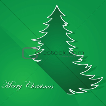 Green tree Christmas card