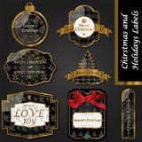 Gold and black vintage Christmas labels