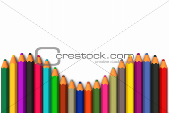 Colored pencils line up in curved row