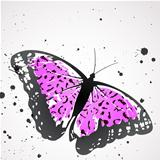 Vector  butterfly with pink leopard wings. EPS 10. Contains clipping masks.