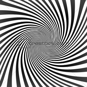 Black twisted lines on white with tunnel effect. Vector illustra