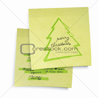 Business yellow sticky notes with Merry Christmas tree. Vector i