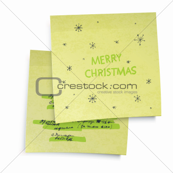 Business yellow sticky notes with Merry Christmas greetings. Vec