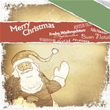 Retro Santa Claus greetings in different languages. Vector, EPS1
