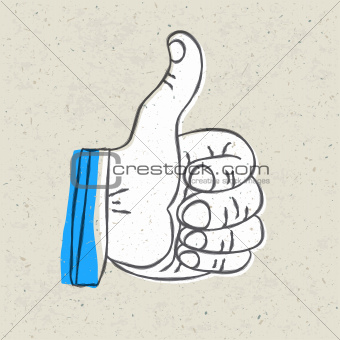 Retro styled thumb up symbol. Vector illustration, EPS10