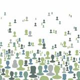 Social network concept background, Many people silhouettes. Vect