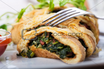 slices of spinach omelette
