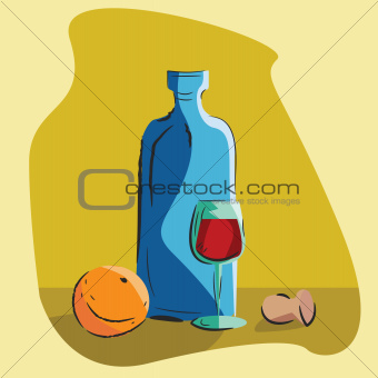 still life with a bottle of wine