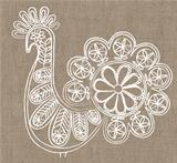 lace bird on linen background