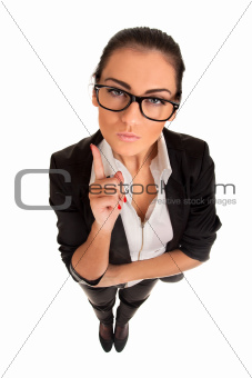 Funny portrait of serious woman