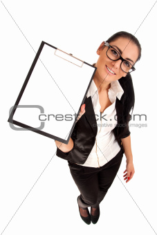 Funny portrait of woman holding clip board