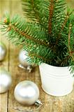 christmas fir tree and white decorations