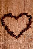 coffee beans in shape of a heart