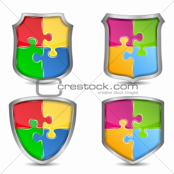 Shields with puzzle pieces