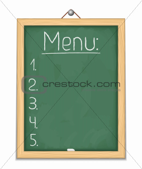 Vertical blackboard with menu