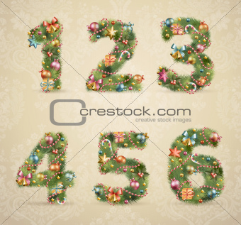 Christmas tree font with baubles