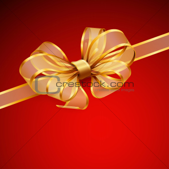 Christmas card - Golden transparent bow