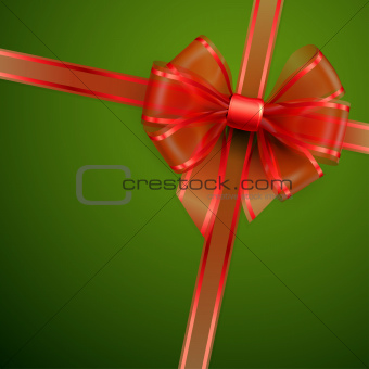 Christmas card - Red transparent bow.