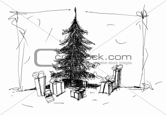 Sketch of  Christmas tree