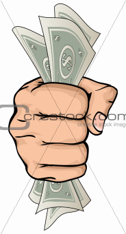 Hand holding money drawing
