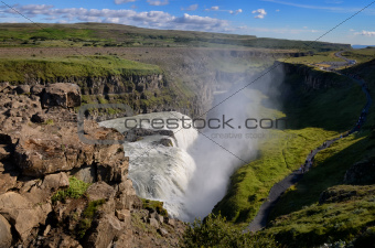 Gullfoss wild waterfall, strong running water, Iceland