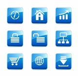 Set of blue e-commerce icons