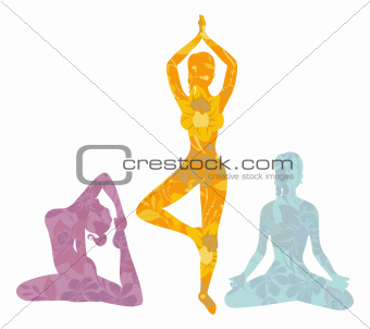 Beautiful woman doing yoga exercises