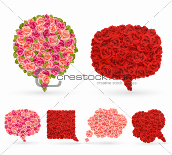 Set of rose bubbles for speech.