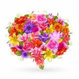 Summer Sale bubble, Colorful flowers.