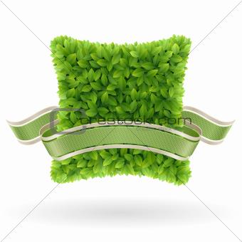 Bio concept label. Green leaves.