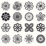 Collection of black and white petals