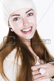Delighted happy woman face - beauty toothy smile