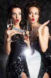 Congratulation! Fashion people with wine glasses of champagne - cheers!