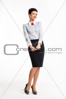 Young businesswoman smiling isolated on white background