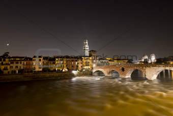 Ponte Pietra by Night - Verona Italy - 1st century B.C.