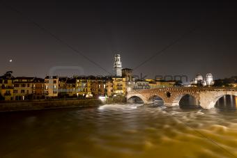 Ponte Pietra by Night - Verona Italy - 1st century B.C.