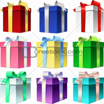 Vector set varicolored gift box with ribbon bow