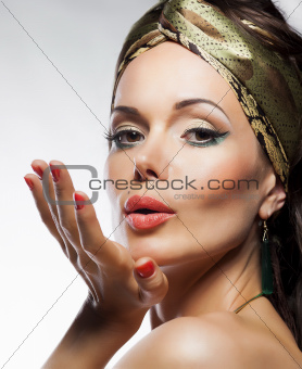 Oriental fashion style. Beautiful lady magic face. Glamor. Kiss