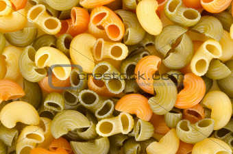 Background from a mix of pasta