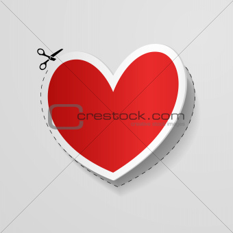 Valentine`s Day card with cut heart shaped sticker.