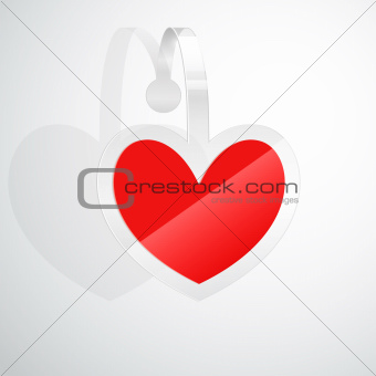 Valentine`s Day card with heart shaped sticker.