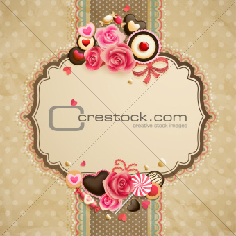 Valentine`s Day vintage lace card
